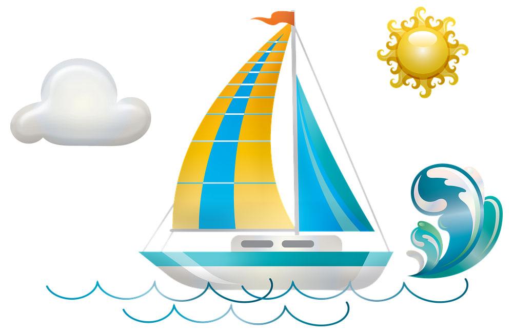 Illustrazione barca nel mare